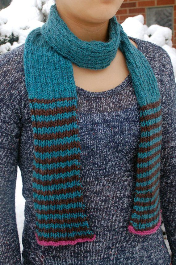 Knitting pattern, Scarf to knit, Hand knit Scarf, Textured ...