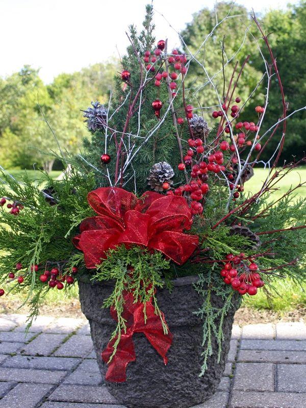 Winter Outdoor Flower Pot Ideas Christmas Winter Pots