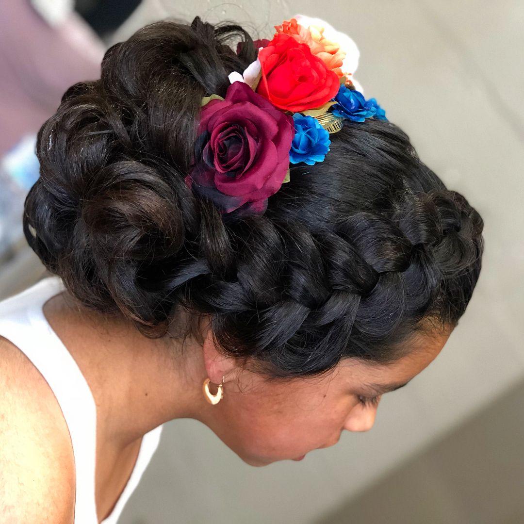 Charra Updo Super Cute Mexican Peinadosparaninas Updostyle Bayareahairstylist Bayarea Con Quince Hairstyles Mexican Hairstyles Peinados Hair Styles