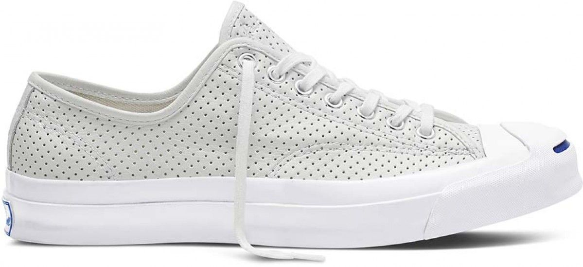 16a0e484be2743 Converse Jack Purcell Signature Low Top Perforated Goat Leather  White White White