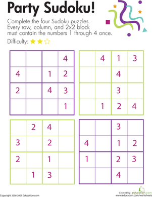Party Sudoku Worksheet Education Com Maths Puzzles Sudoku Math For Kids