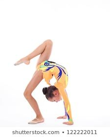 Beautiful flexible girl gymnast over white background