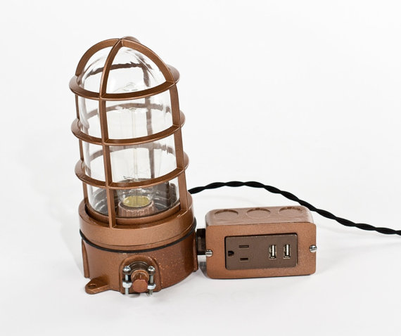 Vintage Industrial Explosion Proof Cage Edison Bulb Table Lamp   USB  Charger U0026 Outlet