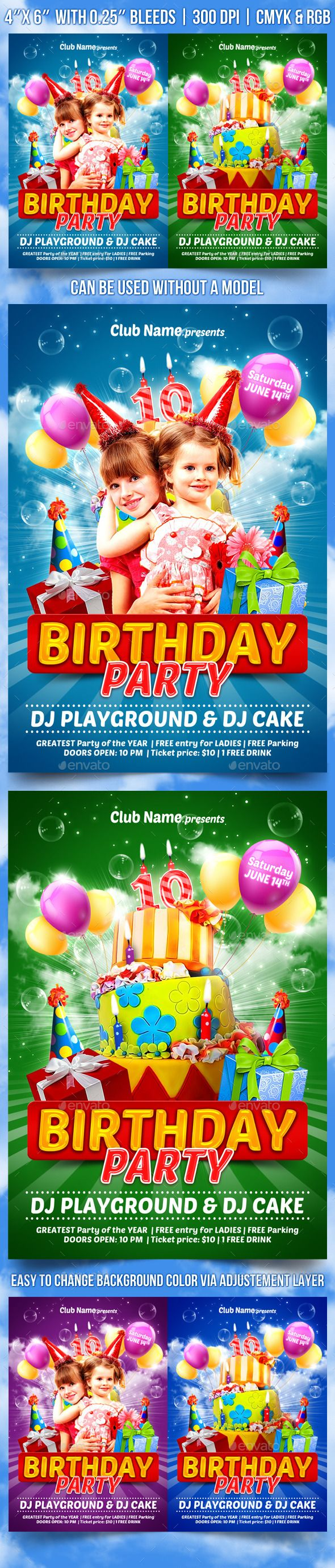 Kids Birthday Party Flyer Template  Flyer Template Party Flyer
