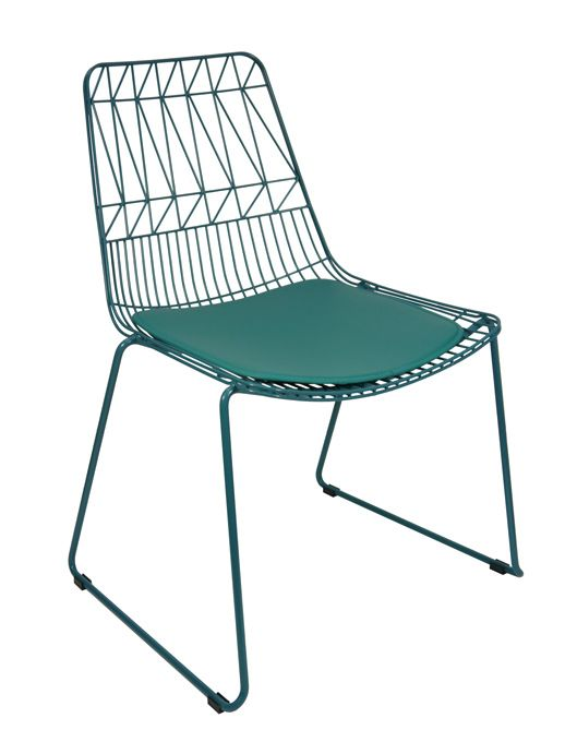 Net Outdoor Chair Replica Bend Wire Lucy Dining Chairs Stackable Aqua