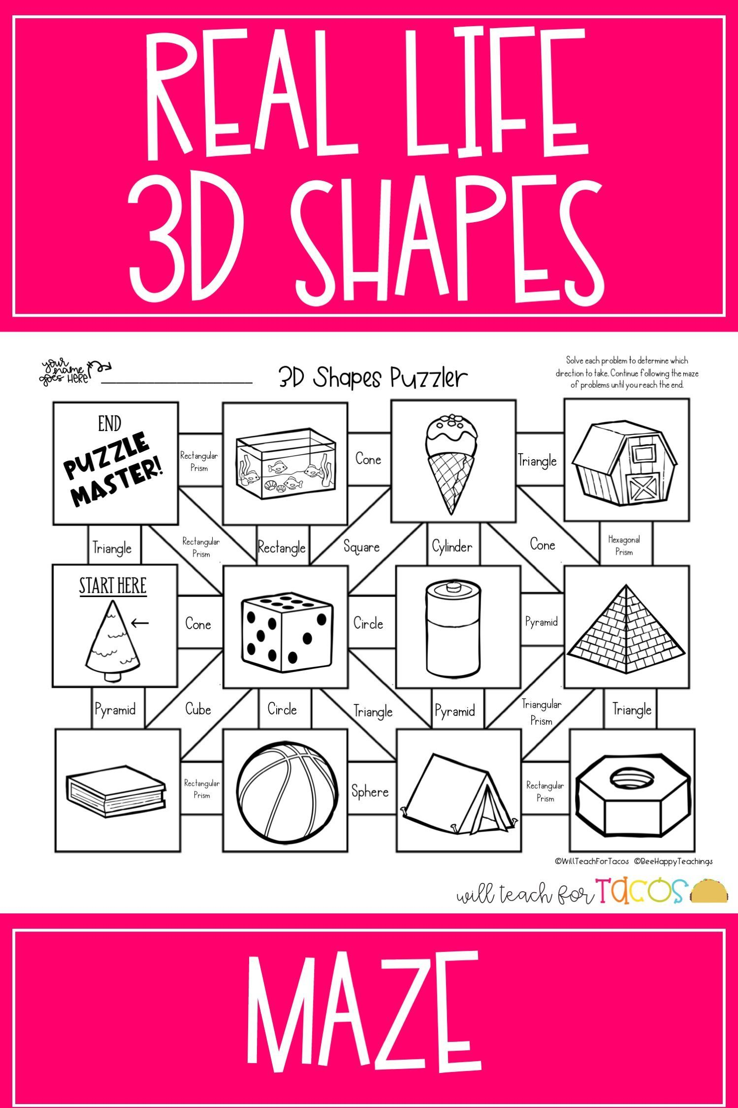 classifying 3D shapes with real life objects; maze for 3rd grade    Elementary math games [ 2249 x 1499 Pixel ]