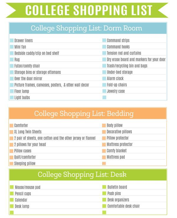 The Ultimate College Shopping List Printable  Shopping Lists