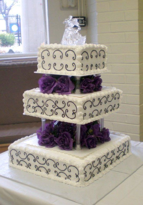 small 3 tier wedding cakes Tier Square Wedding Cake wedding
