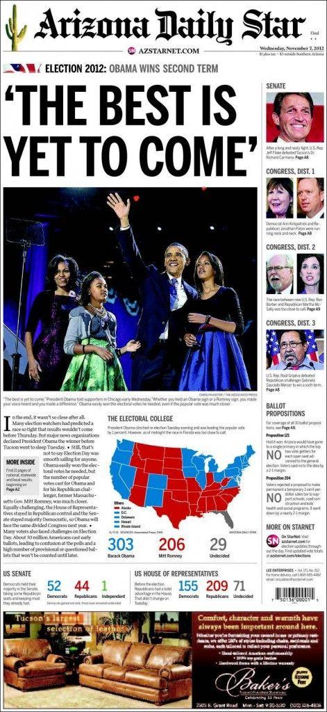 Especial portadas del 7 de Noviembre 2012, Elecciones en EEUU: Obama reelegido presidente   discutivo.com