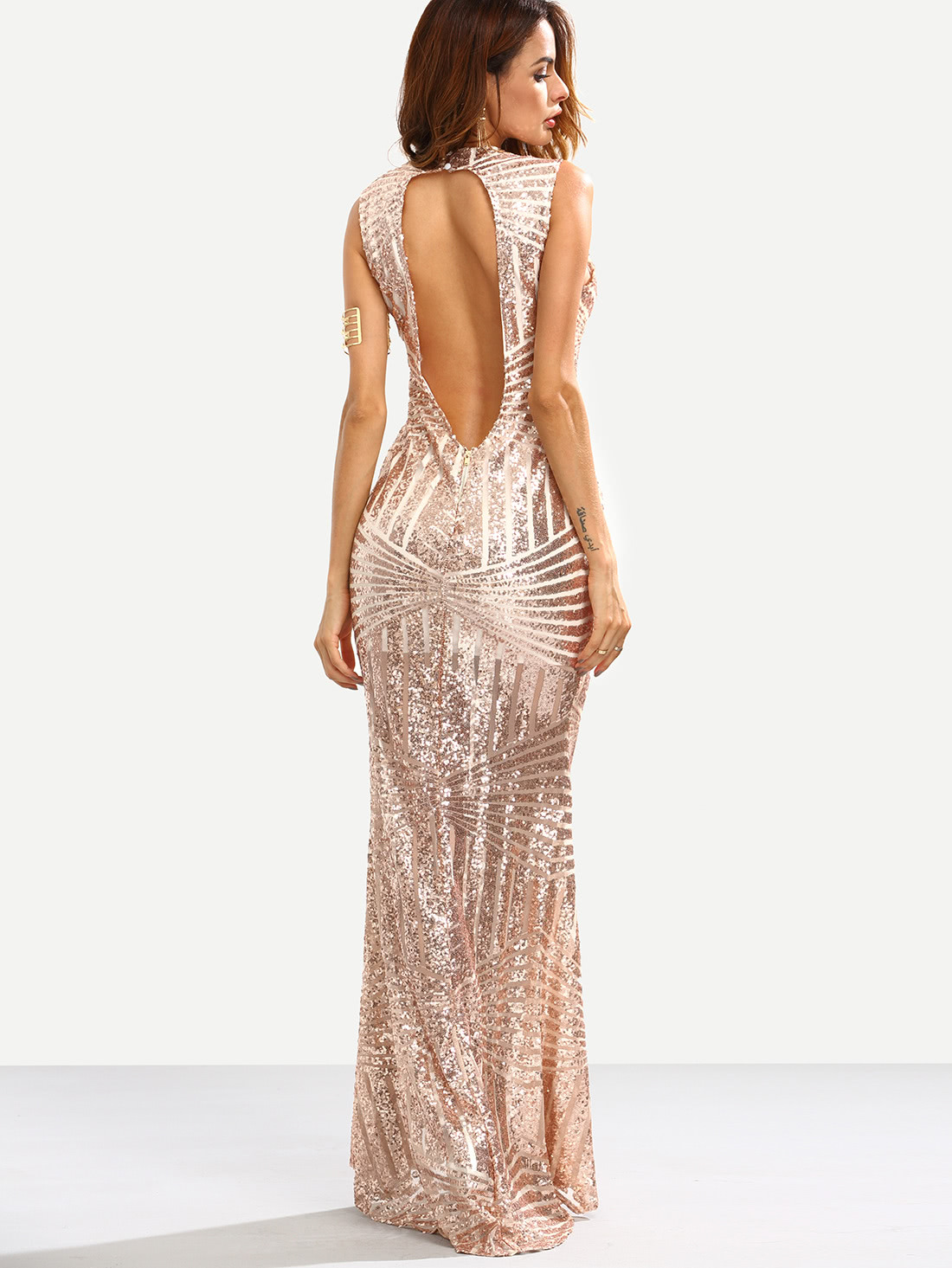 2f3d6210c Vestido de sirena lentejuelas abertura en espalda - rosa dorado -Spanish  SheIn(Sheinside)