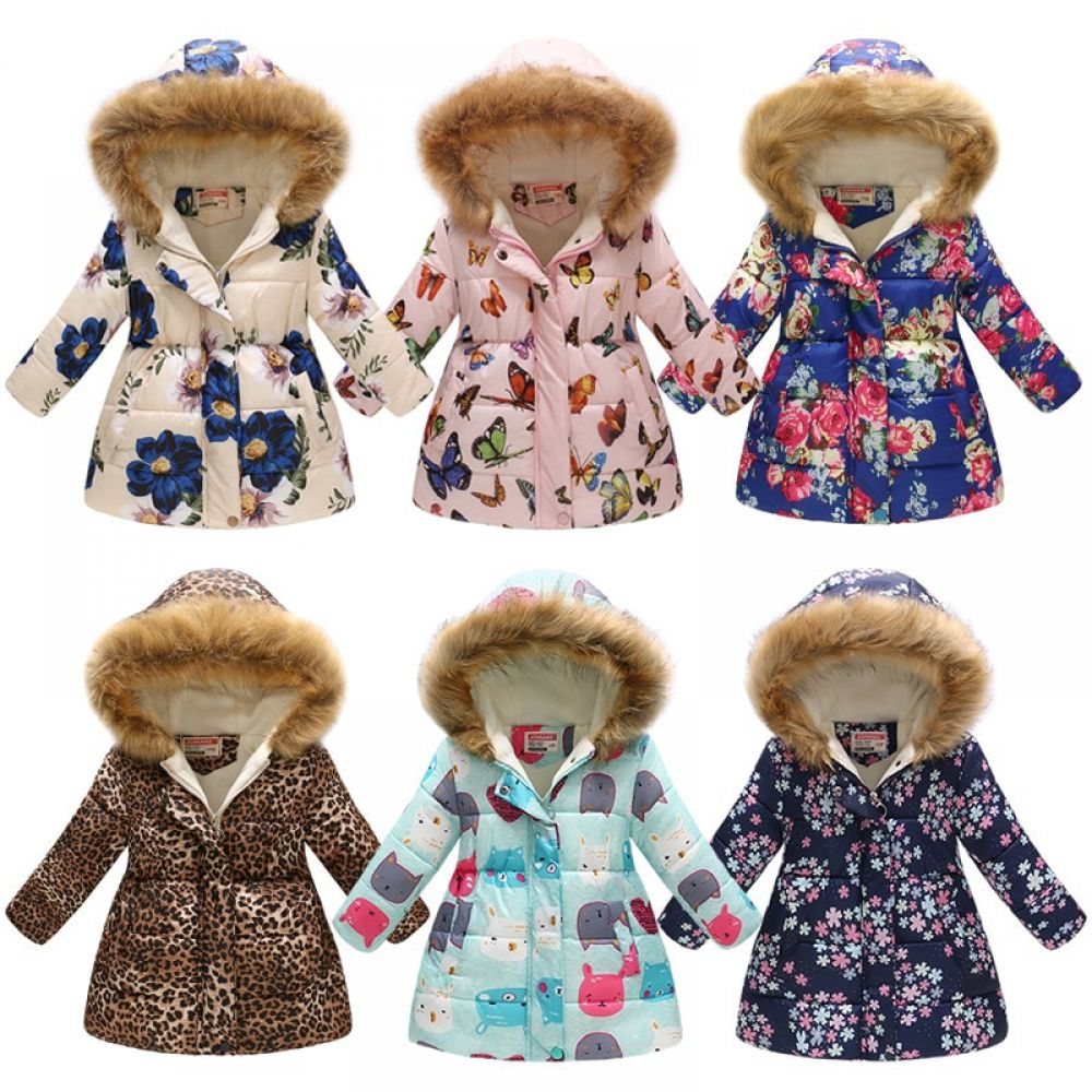 Kids Girls Jackets Printed Outerwear Clothing Girls Winter Coats Kids Winter Fashion Kids Outfits [ 1000 x 1000 Pixel ]