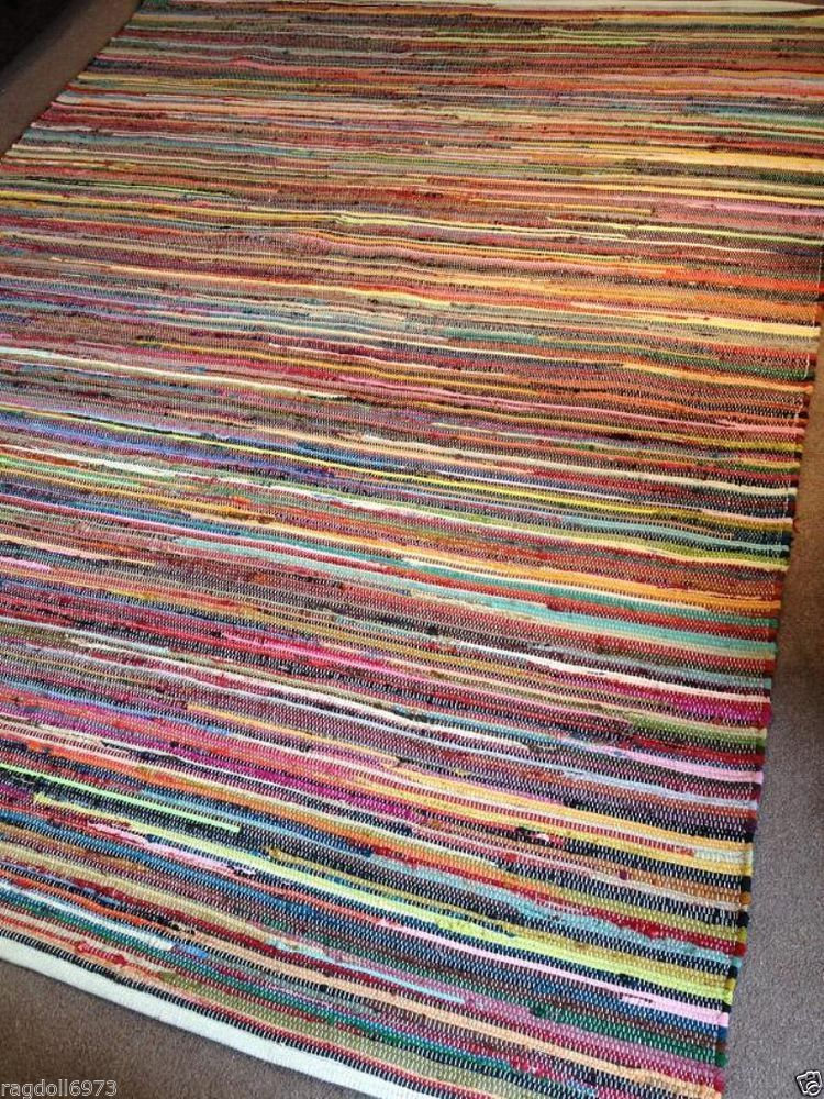 Fab Recycled Extra Large Multi Coloured Indian Cotton Chindi Rag Rug 240 X 300cm