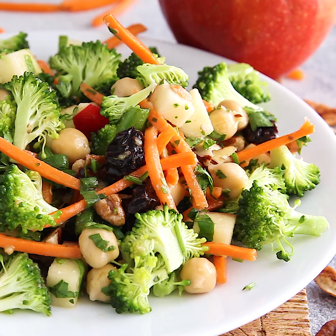 Chickpea Apple Broccoli Salad with Honey Dijon Dre
