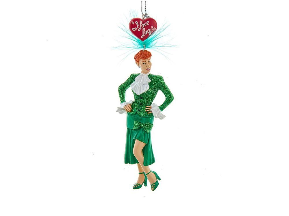 This I Love Lucy® Sally Sweet Lucy ornament from Kurt Adler is a charming addition to any holiday décor or Christmas tree. Features the hilarious Lucille ball as Sweet Sally, she is wearing a Kelly green dress with white collar and cuffs.