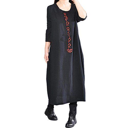 2ff9dc1dca HOMEBABY Cotone Lino Vestito Lungo Donna Elegante Taglie Forti ...