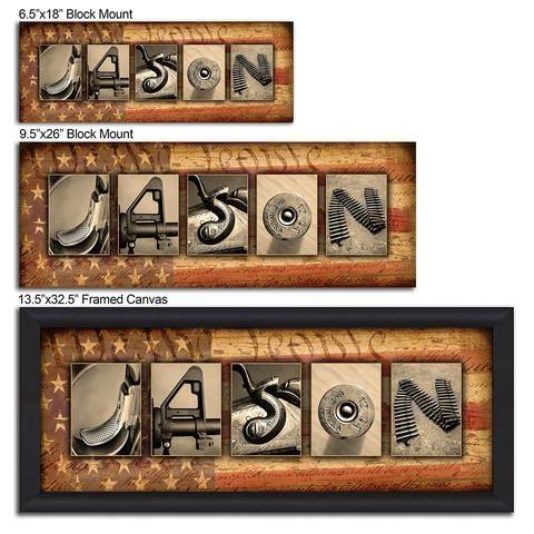 Firearm Guns Size Comparison Canvas Frame Name Art Alphabet Art