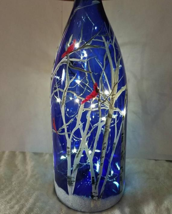 Birch Tree light up bottle, decorative light up wine bottle,cardinals in tree, cobalt bottle images