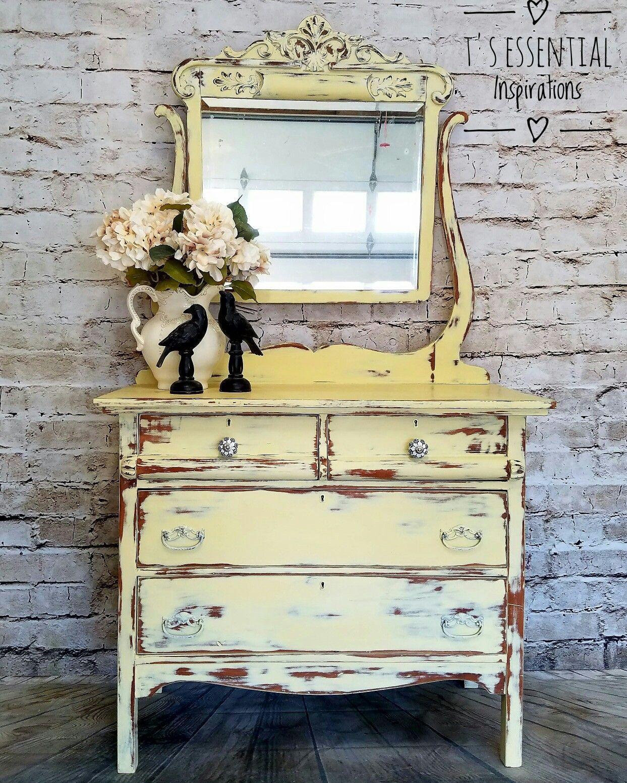 Yellow Antique Dresser Shabby Chic Dresser Shabby Chic Furniture Shabby Chic