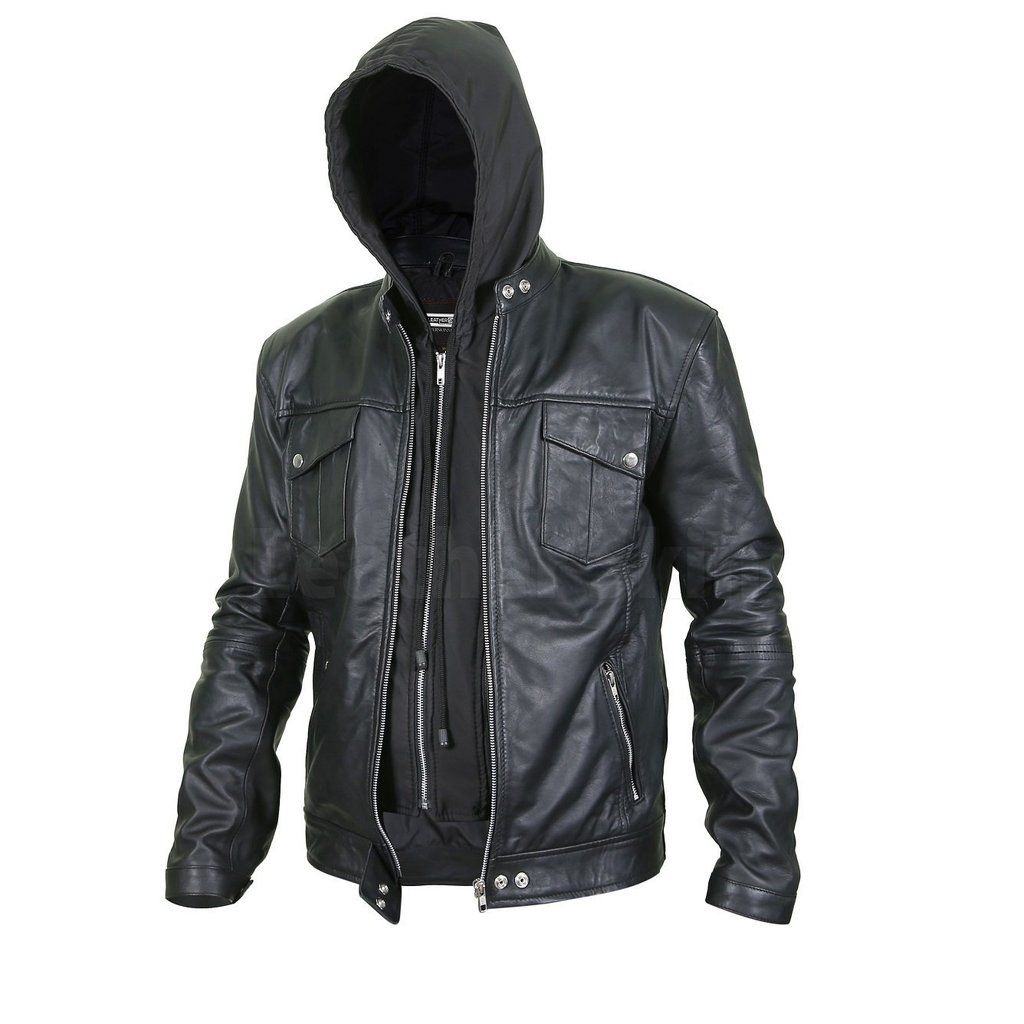 Men S Black Leather Jacket With Hoodie Leather Jacket With Hood Leather Jacket Jackets [ 1024 x 1024 Pixel ]