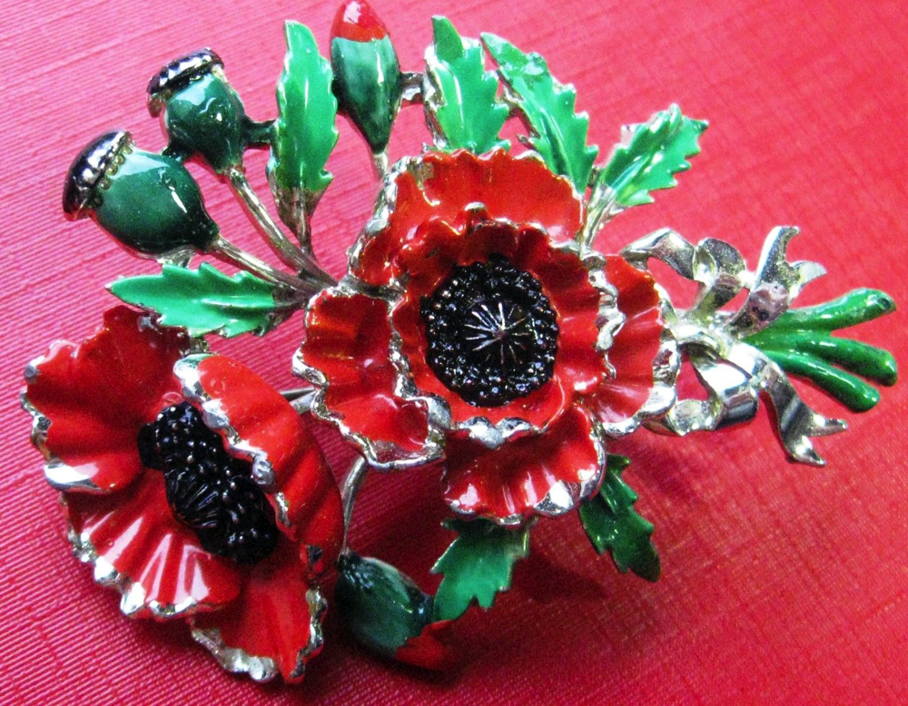 Vintage exquisite enamel poppy flower birthday series brooch pin vintage exquisite enamel poppy flower birthday series brooch pin badge august beautiful condition with minor enamel mightylinksfo