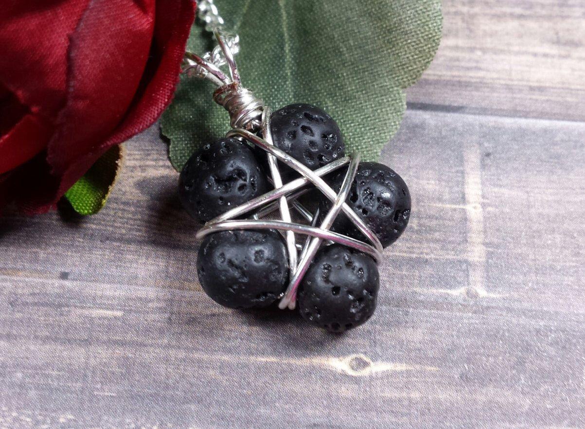 Lava stone pentacle aromatherapy oil diffuser pendant