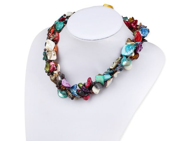 Fashion Multi Function Long Style Colorful Shell Strands Necklace, Sweater Necklace