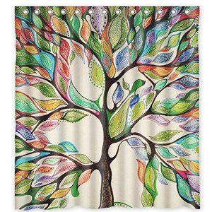 Amazon Com Crazylynx Tree Of Life Fabric Colorful Shower Curtain