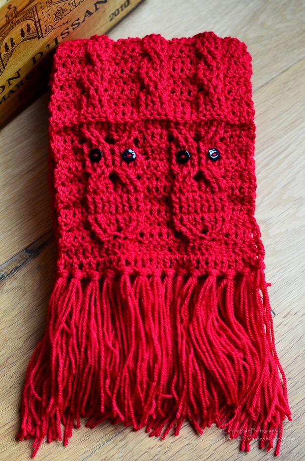 Free Crochet Owl Cabled Scarf | Tejido, Chal y Gorros