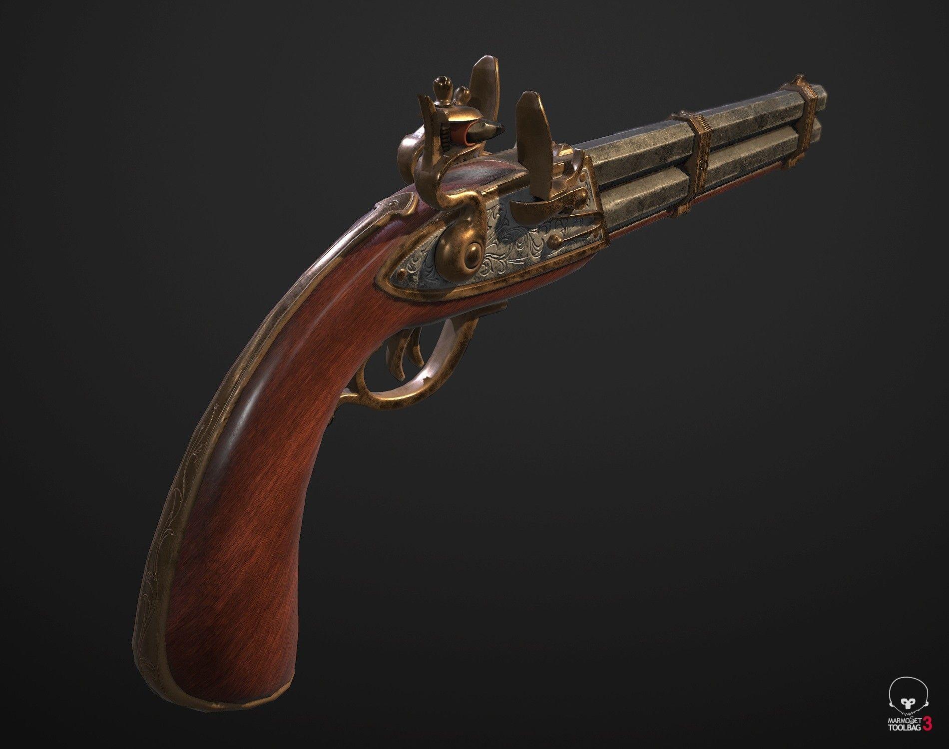 ArtStation - Double-barrel flint pistol, Anton Kalimullin