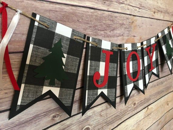 Buffalo Check Joy banner joy banner christmas banner plaid | Etsy