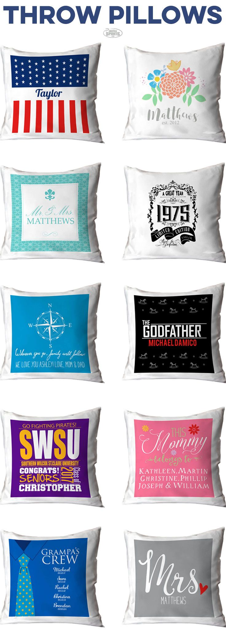 looking for that special something to bring a room together? These Throw Pillows are perfect! They come in a variety of designs and colors. Made for special occasions or people. We Have Gifts For everyone... Mom, Dad, Brother, Sister, Grandpa, Grandma, Aunt, and Uncle.For the special moments in life we have items for Birthdays, Weddings, Graduations, and Births. Check it out by clicking the Pin.