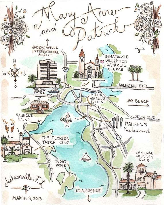 Custom Wedding Map Hand Drawn Original Artwork By Jlhartstudio 125 00