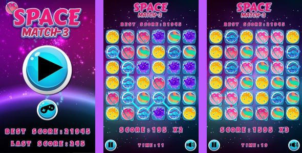 Space Match3 - HTML5 Game + Android + AdMob (Construct 3