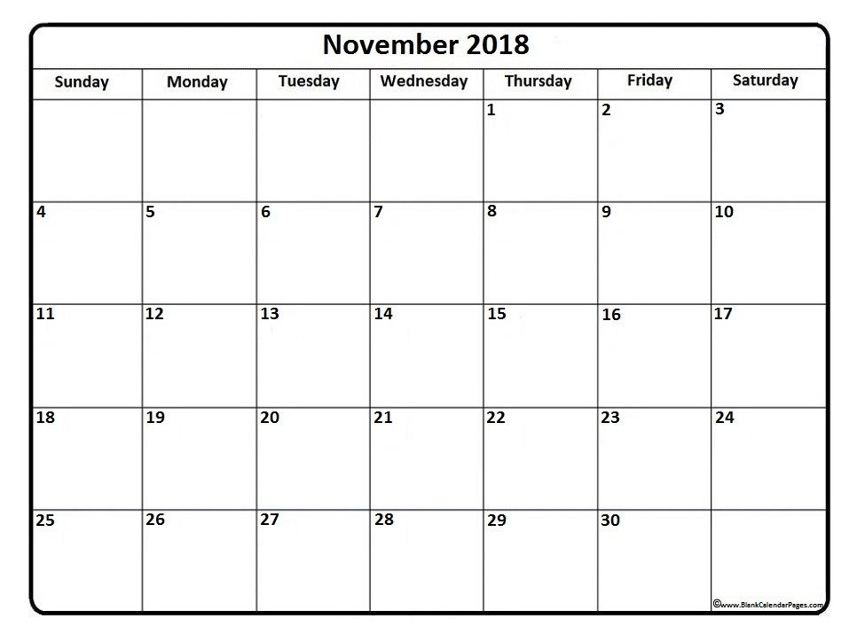 November Calendar Printable November  Calendar  November