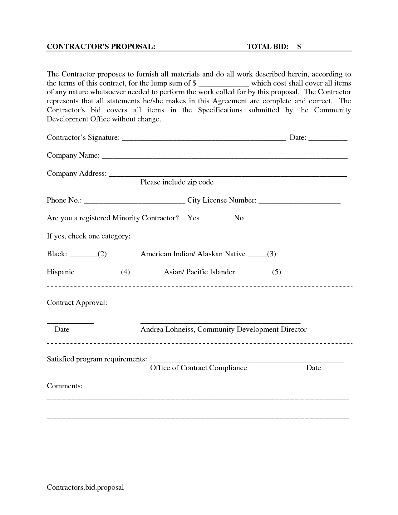 Printable Blank Bid Proposal Forms | Scope Of Work Template  Free Construction Bid Template