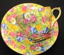 ROYAL WINTON VINTAGE PINK BLUE YELLOW SWEET PEA CHINTZ TEA CUP AND SAUCER