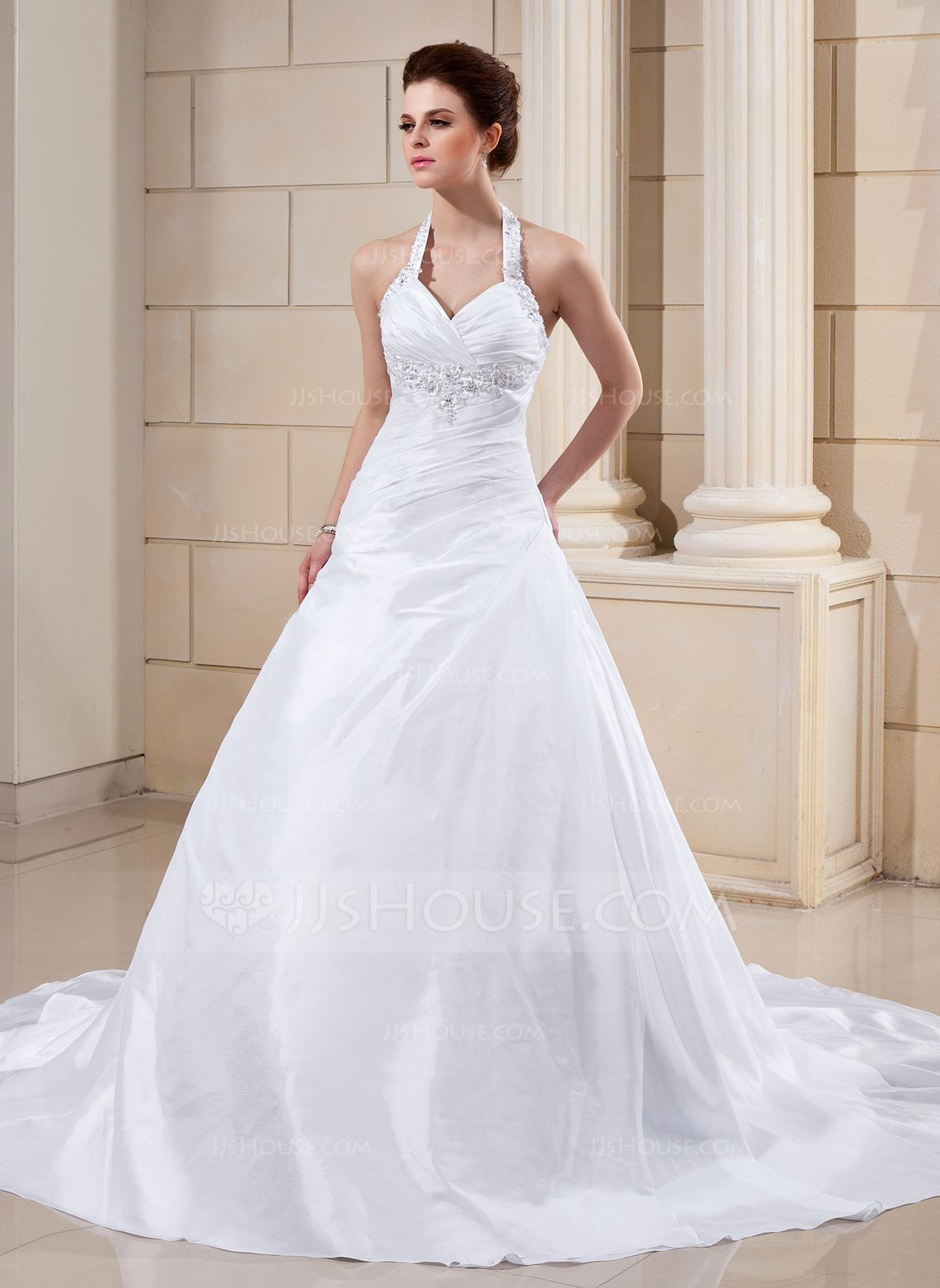 A Line Princess Halter Cathedral Train Taffeta Wedding Dress With