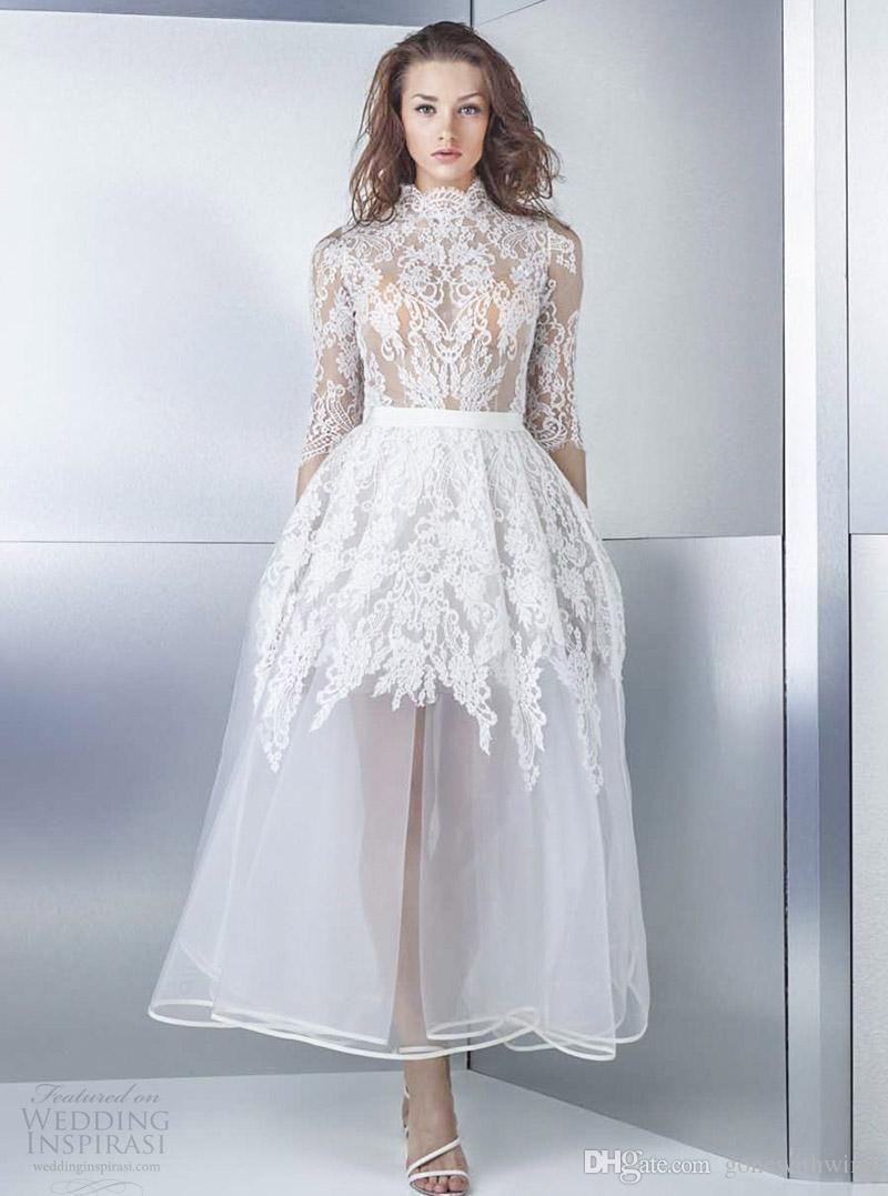 Tea length short wedding dresses 2017 half sleeves high neck heavily ...