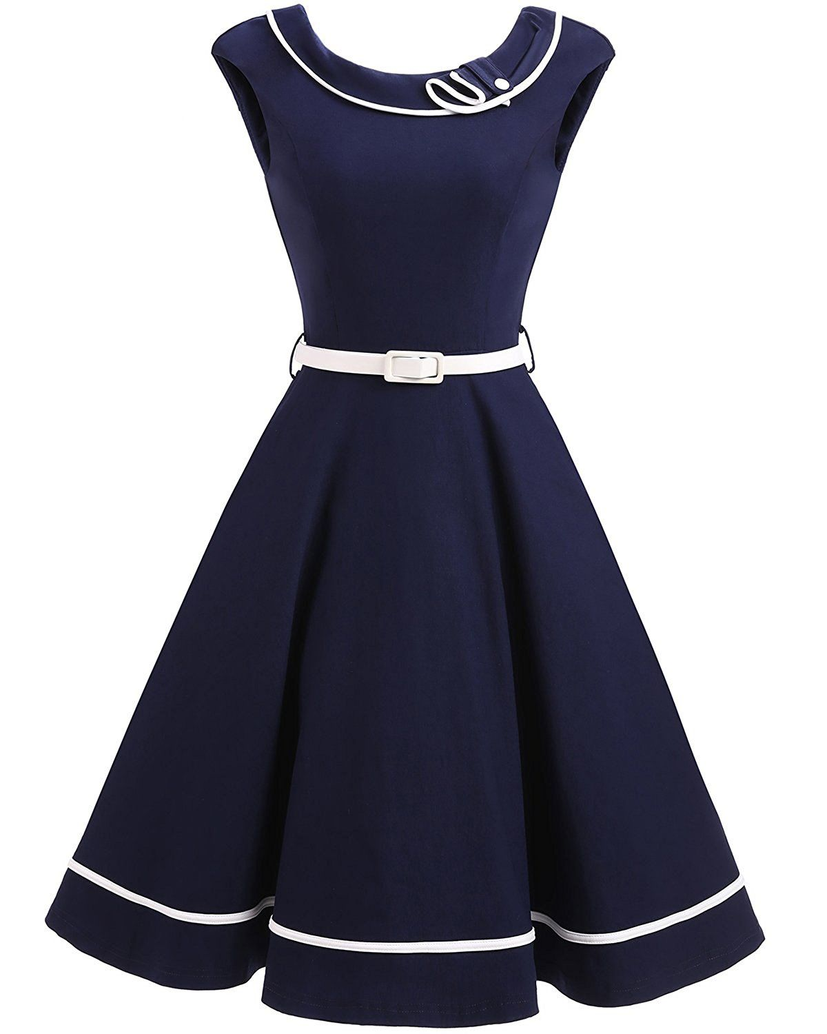 f008e695cc1b Tempt me 1950s Vintage Girls Navy Nautical Sailor Rockabilly Cocktail Midi  Dress at Amazon Women's Clothing store:
