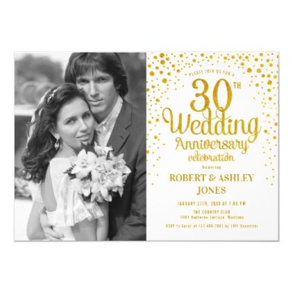 30th Anniversary with Photo - White Gold Invitation | Zazzle.com #20thanniversarywedding