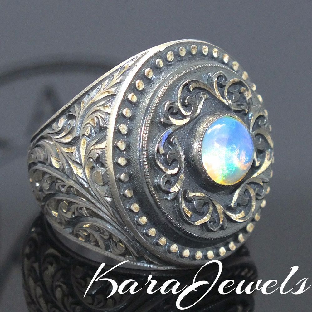 925 Sterling Silver Men's Ring with Ethiopian Opal 1.2 cts by KaraJewels #KaraJewels #Sterling #Silver #mensring #opal #ethiopian #1.2cts