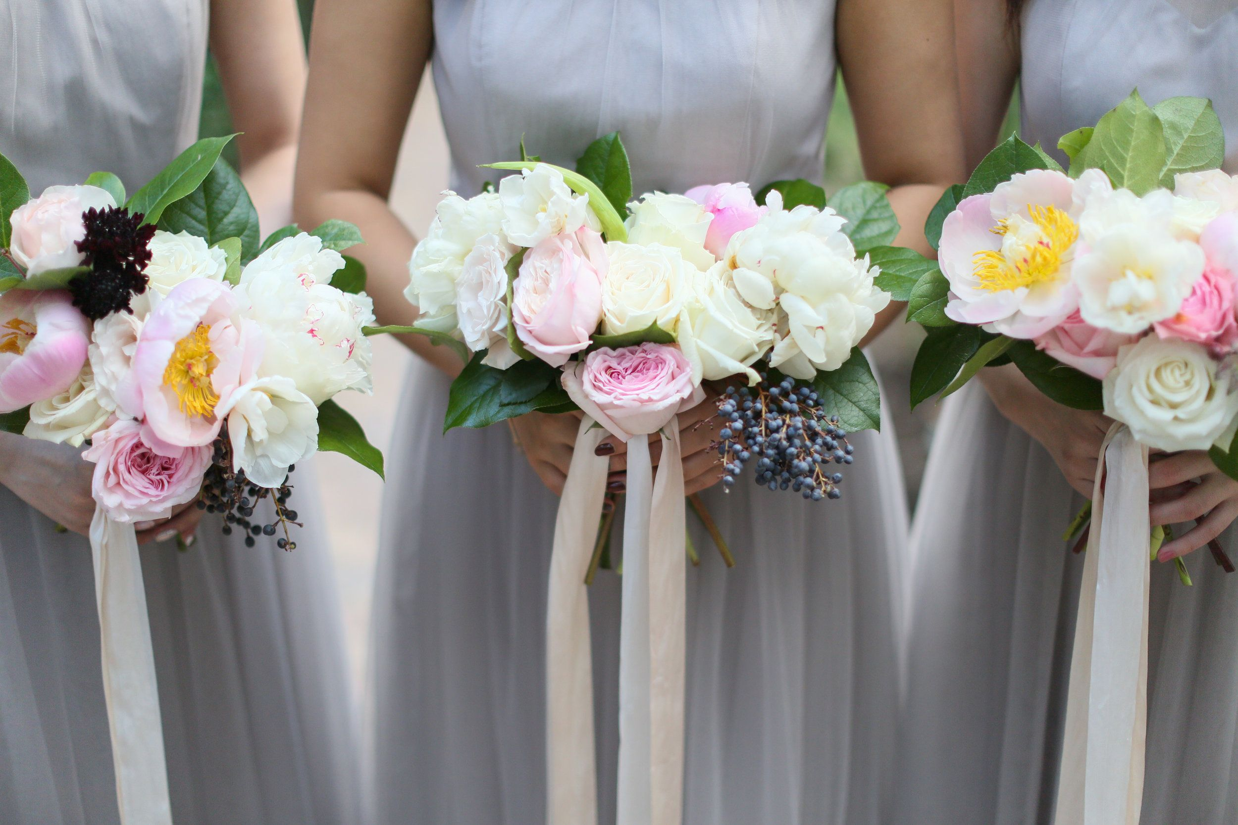 Pink Peony Bridesmaid Bouquets With Ribbon Paired With Gray