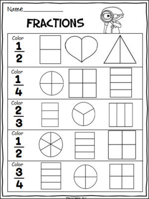 Fractions Practice Page 2nd Grade Math Worksheets Fraction