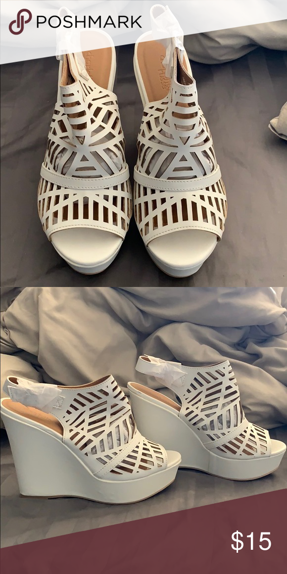 706838311995 White caged wedges Brand new white caged wedges. Charlotte Russe Shoes  Wedges
