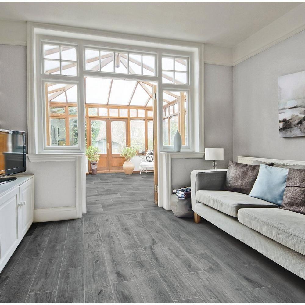 Rockwood Gray Wood Plank Porcelain Tile Floor Decor In 2020
