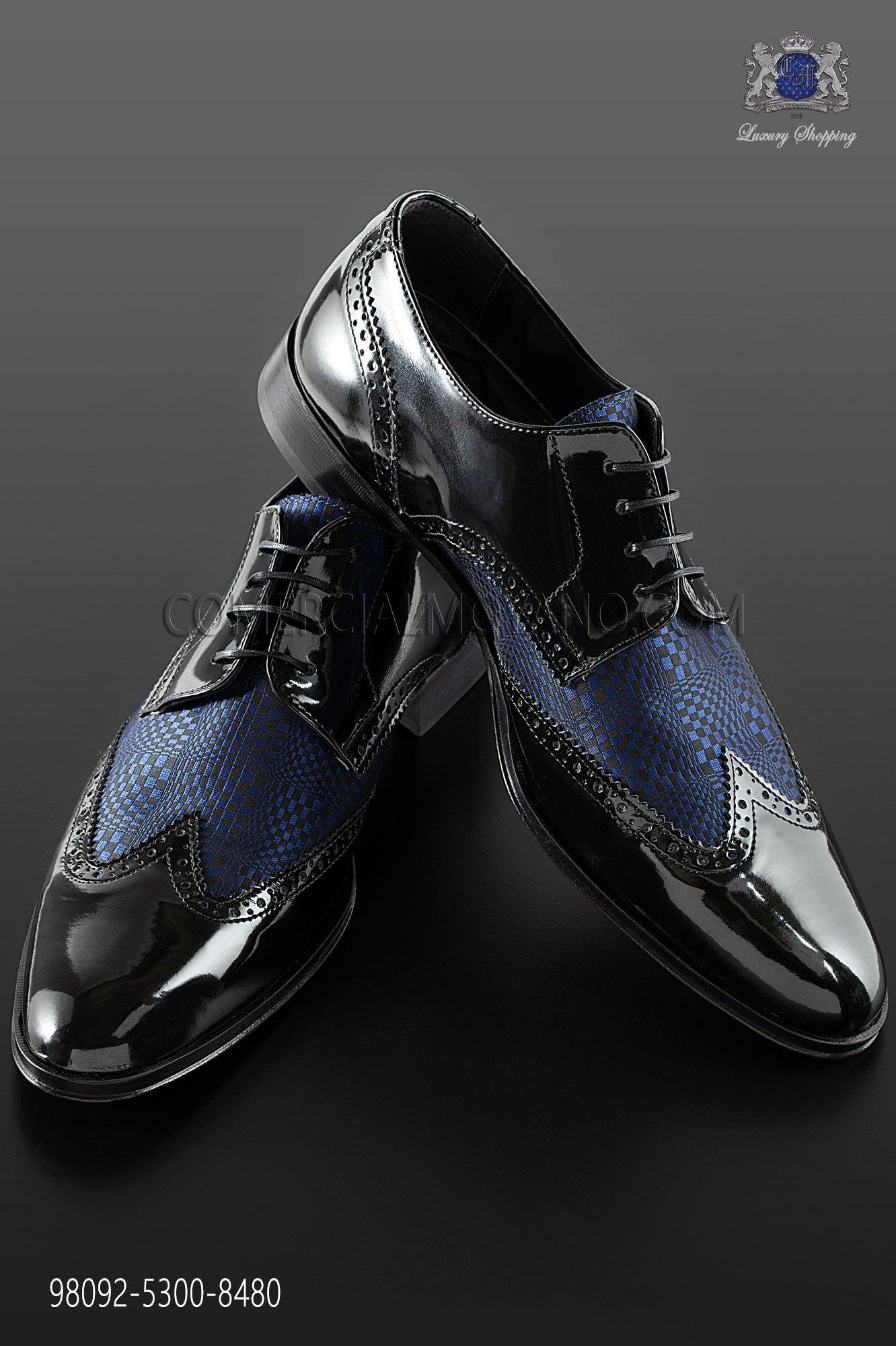 Blue Jacquard Combined With Black Leather Francesina Shoes Style Gents Shoes Leather Shoe Laces Dress Shoes Men [ 2000 x 1332 Pixel ]