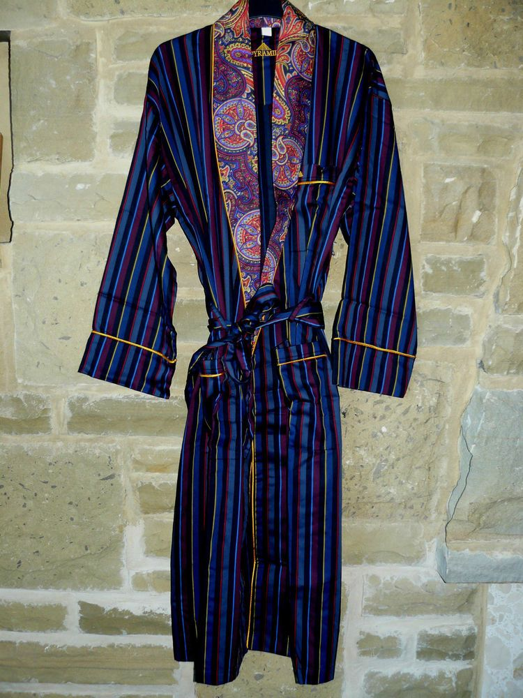 Mens Pyramid 100% Cotton Dressing Gown Luxury Robe Striped Paisley ...