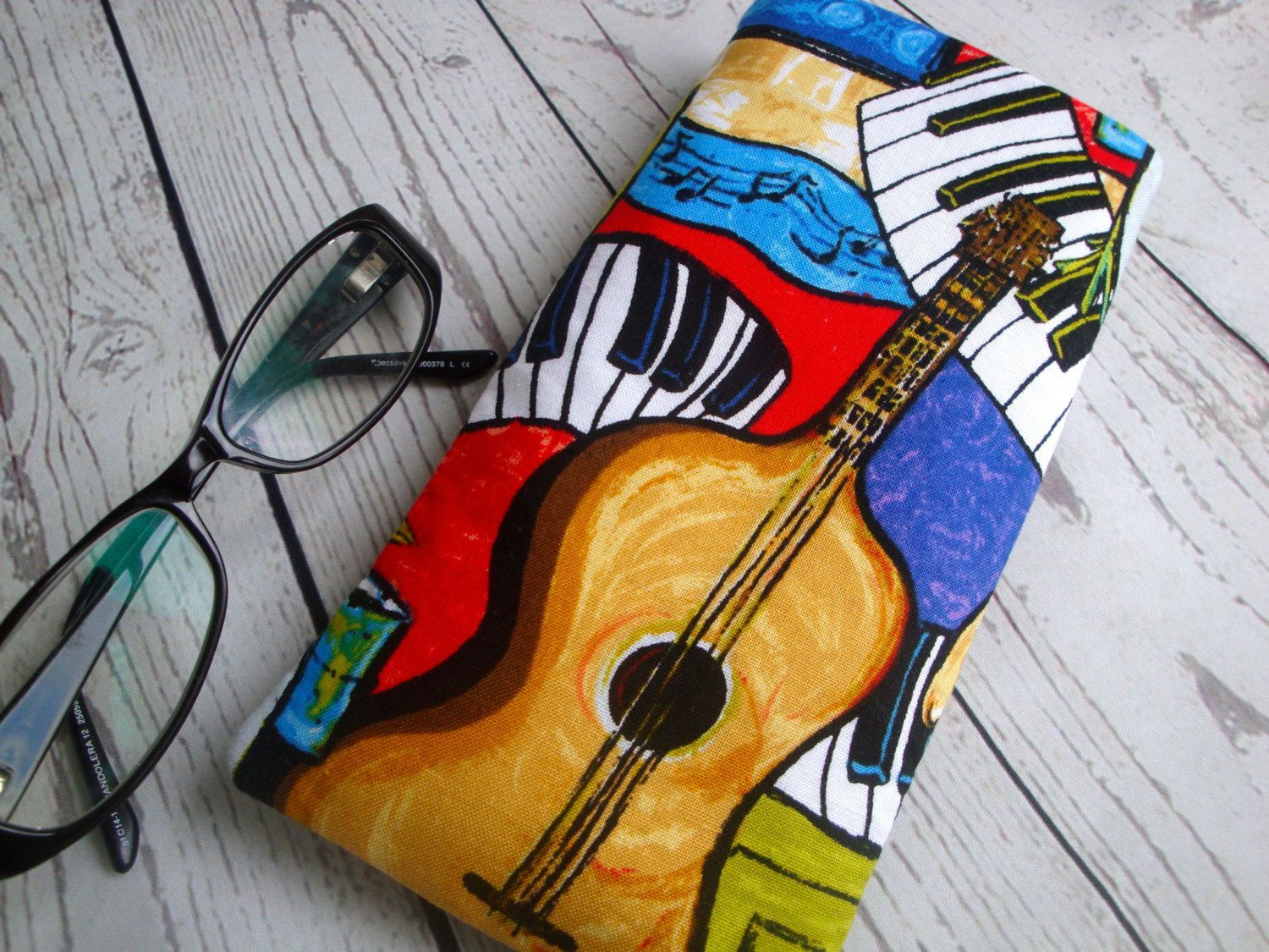48b789f867 Mens Cotton Glasses case - handmade - unique - guitar fabric - gift -funky  eyeglasses case - manly glasses case by GerdaBags on Etsy