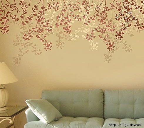 Cherry Branches Stencil 490x437 128kb роспись стен Pinterest Stenciling And Interiors