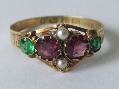 Fine Victorian Suffragette 12 Carat Amethyst Emerald And Pearl Gold Ring Suffragette Jewellery Victorian Rings Amethyst Jewelry
